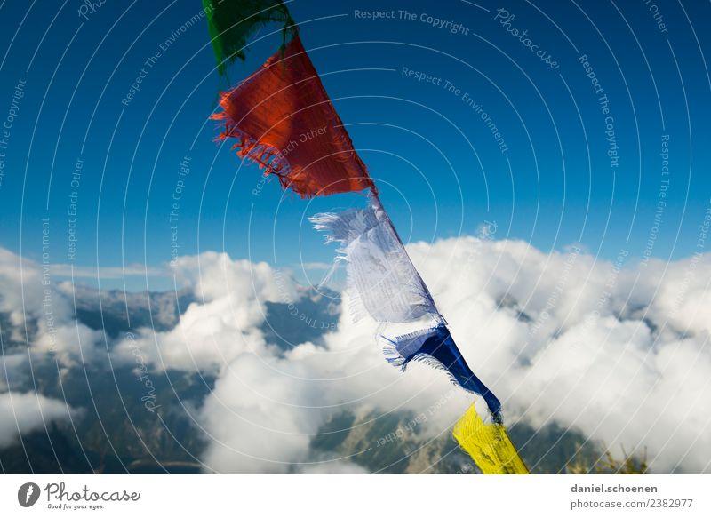 am Gipfel Himmel Wind Berge u. Gebirge Fahne Gebetsfahnen blau Abenteuer anstrengen Erfolg Glaube Religion & Glaube mehrfarbig Menschenleer Textfreiraum links