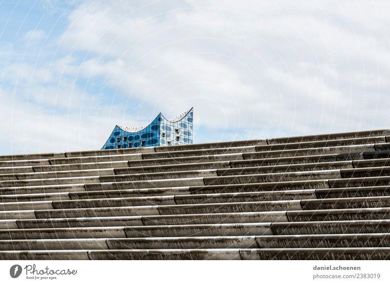 Treppe Tourismus Städtereise Hamburg Stadt Hafenstadt Architektur Sehenswürdigkeit Wahrzeichen Elbphilharmonie modern blau weiß Gedeckte Farben Menschenleer