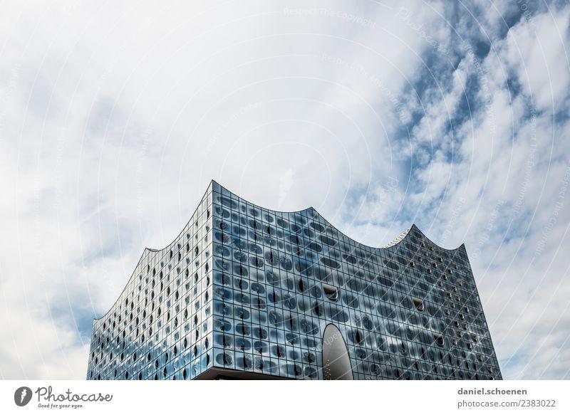 Hamburg Ferien & Urlaub & Reisen blau weiß Architektur Gebäude Tourismus grau Sehenswürdigkeit Wahrzeichen Städtereise Elbphilharmonie