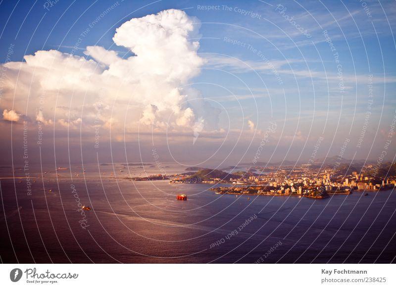 Niteroi Himmel blau Stadt Ferien & Urlaub & Reisen Meer Sommer Wolken Küste Tourismus Schönes Wetter Hafen Fernweh Südamerika Brasilien Hafenstadt