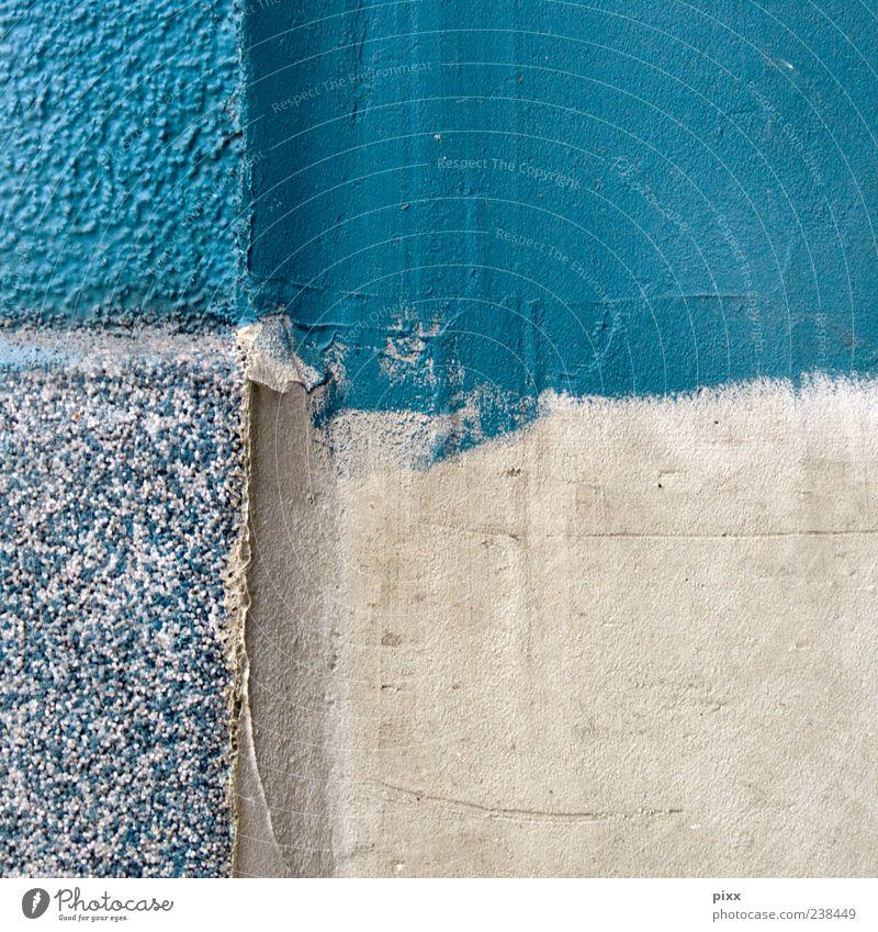 » ... ich bin mal schnell zum baumarkt« blau Sommer Wand Farbstoff Arbeit & Erwerbstätigkeit Hintergrundbild Fassade Kreuz Teilung Quadrat türkis Handwerk Putz