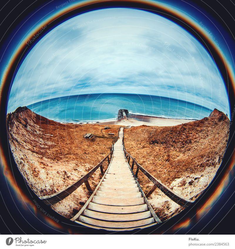 Vertigo Himmel Natur Ferien & Urlaub & Reisen blau Wasser Landschaft Meer Wolken Strand gelb natürlich Küste Holz Tourismus Sand Ausflug