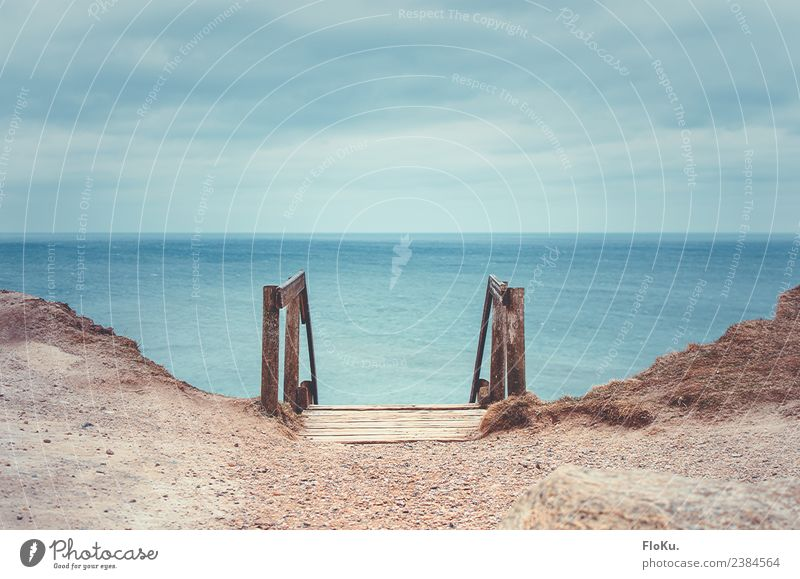 die Treppen am Meer Himmel Natur Ferien & Urlaub & Reisen blau Wasser Landschaft Wolken Ferne Strand Umwelt natürlich Küste Holz Tourismus Freiheit