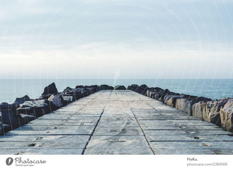 Stein, Wasser, Luft Ferien & Urlaub & Reisen Ausflug Ferne Meer Umwelt Natur Urelemente Himmel Küste Nordsee gigantisch nass blau Dänemark Beton Buhne