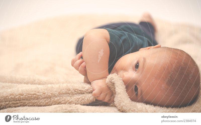 Porträt eines kriechenden Babys auf dem Bett in seinem Zimmer Glück schön Gesicht Bad Kind Mensch Kleinkind Junge Frau Erwachsene Kindheit Spielzeug Lächeln
