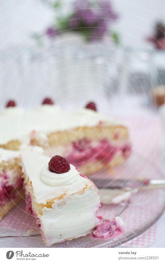 Himbeerkuchen Lebensmittel Milcherzeugnisse Frucht Kuchen Dessert Ernährung Feste & Feiern Himbeeren Sahne Tortenheber Sahnetorte Dickmacher lecker