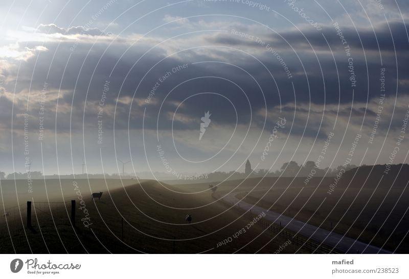 Sonntag Morgen auf'm Deich Ausflug Sommer Windkraftanlage Umwelt Natur Landschaft Himmel Wolken Sonne Sonnenlicht Schönes Wetter Küste Nordsee Dorf Kirche