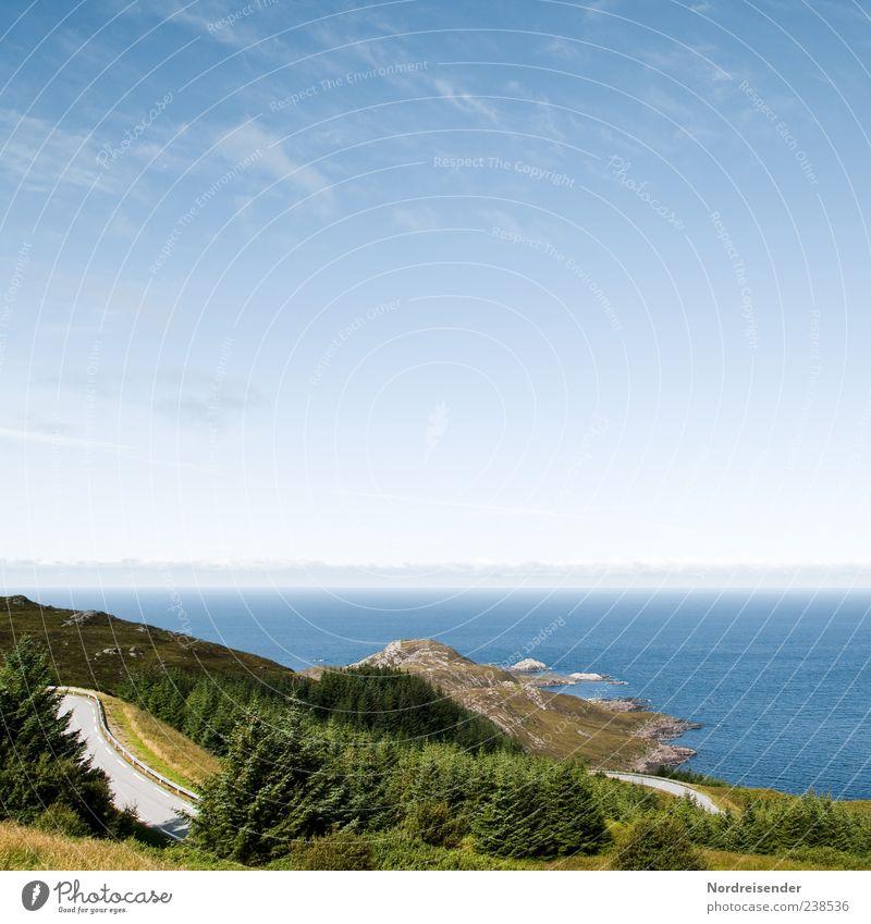 Irgendwo am Atlantik Himmel Natur Wasser Ferien & Urlaub & Reisen Meer Sommer Ferne Landschaft Straße Wege & Pfade Küste Freiheit Stimmung Horizont Ausflug