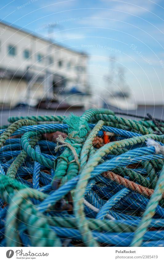 #S# Hafenfeeling Schifffahrt Arbeit & Erwerbstätigkeit Leinen Knoten viele Angeln Idylle blau Verschiedenheit Ostsee Ostseeinsel Wasser Meer Farbfoto