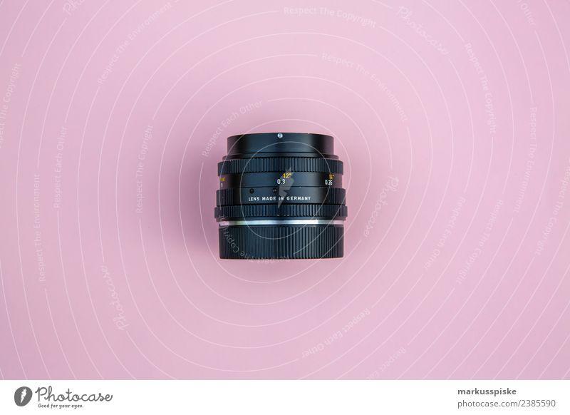 Analog Objektiv Lifestyle Stil rosa Design Freizeit & Hobby Büro retro ästhetisch Fotografie trendy Fotokamera Werbebranche altehrwürdig Arbeitsplatz analog