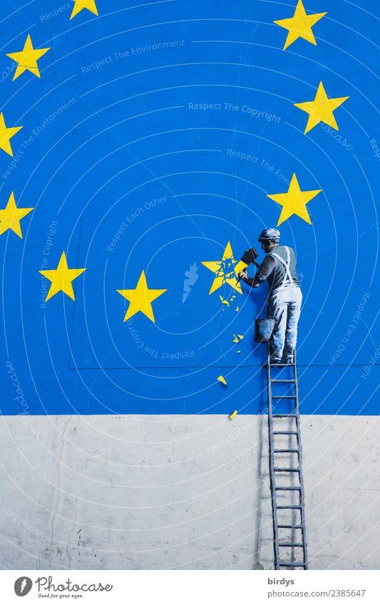 Graffiti Brexit, Eu-Austritt Handwerk Mann Erwachsene 1 Mensch Dover Fassade Zeichen Europafahne Arbeit & Erwerbstätigkeit authentisch lustig blau gelb Mut