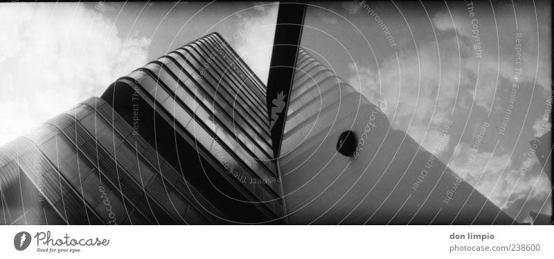 astra turm weiß Wolken schwarz Architektur Gebäude Fassade glänzend außergewöhnlich groß hoch modern Hochhaus Perspektive analog eckig gigantisch