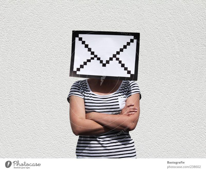 Briefkopf feminin außergewöhnlich T-Shirt Internet Symbole & Metaphern Information Kontakt Post Design E-Mail gestreift Briefkasten Piktogramm Briefumschlag