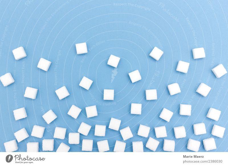 Würfelzucker Lebensmittel Zucker Ernährung Essen einfach lecker süß viele blau weiß zurückhalten Appetit & Hunger Hemmungslosigkeit Gesundheit rein Muster