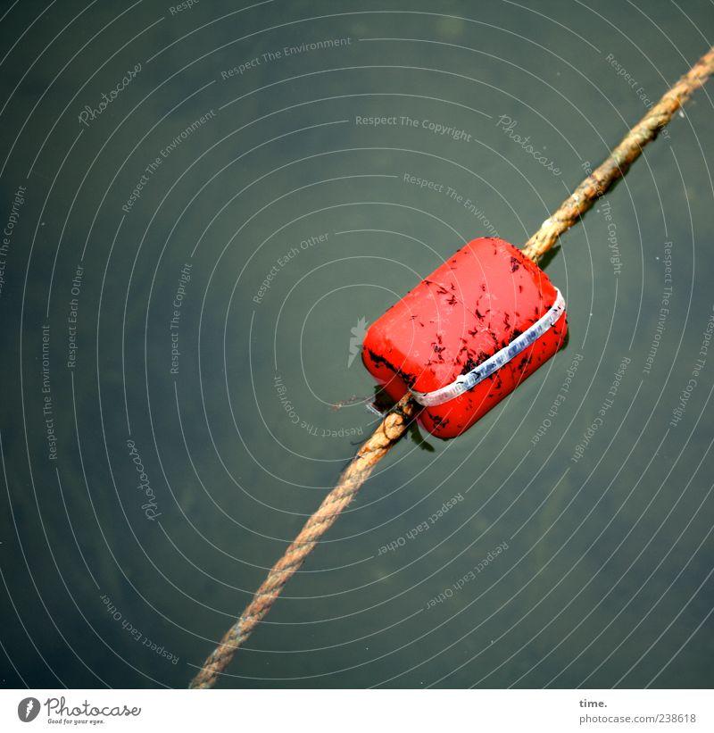 Kaltbader/Warmbader Seil Wasser bedrohlich nass rot gefährlich Risiko Kork Schwimmer (Angeln) Warnfarbe Grenze Warnhinweis Hinweis Abtrennung Nichtschwimmer