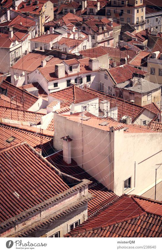 Rooftops. ästhetisch Dach Stadt Lissabon Portugal Idylle Vogelperspektive Gasse mediterran Flair Süden Ziegeldach voll viele Einfamilienhaus eng bevölkert