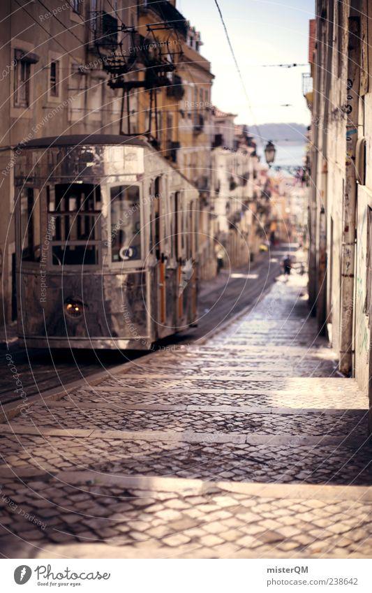 verbindet. Ferien & Urlaub & Reisen Straße ästhetisch Kopfsteinpflaster harmonisch Gasse Portugal Altstadt mediterran Straßenbahn Lissabon Straßenrand dezent Verkehr Muster Wege & Pfade