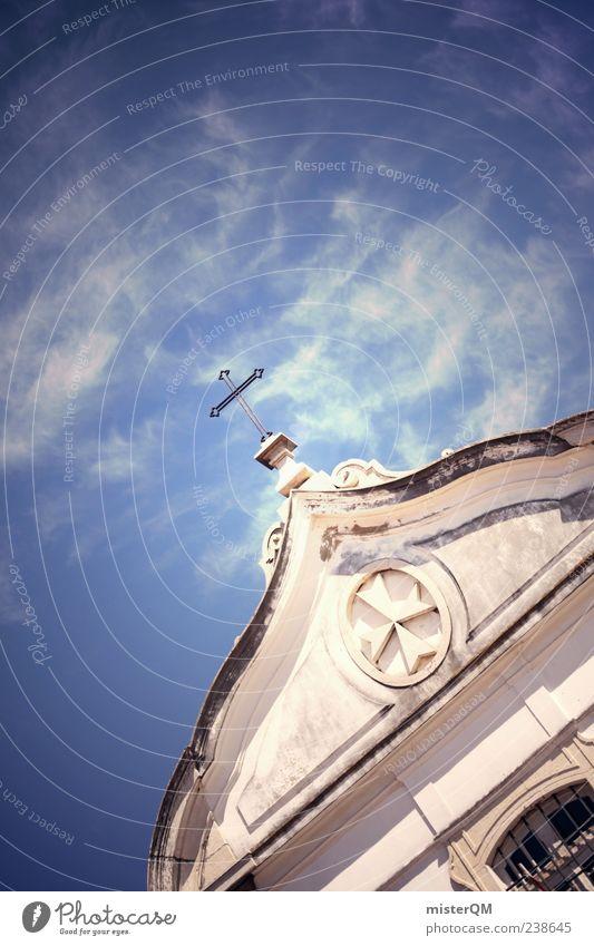 Kraft. Wolken Religion & Glaube Kraft Kirche ästhetisch Zukunft Macht Hoffnung Vergangenheit Kreuz Blauer Himmel intensiv Kirchentag