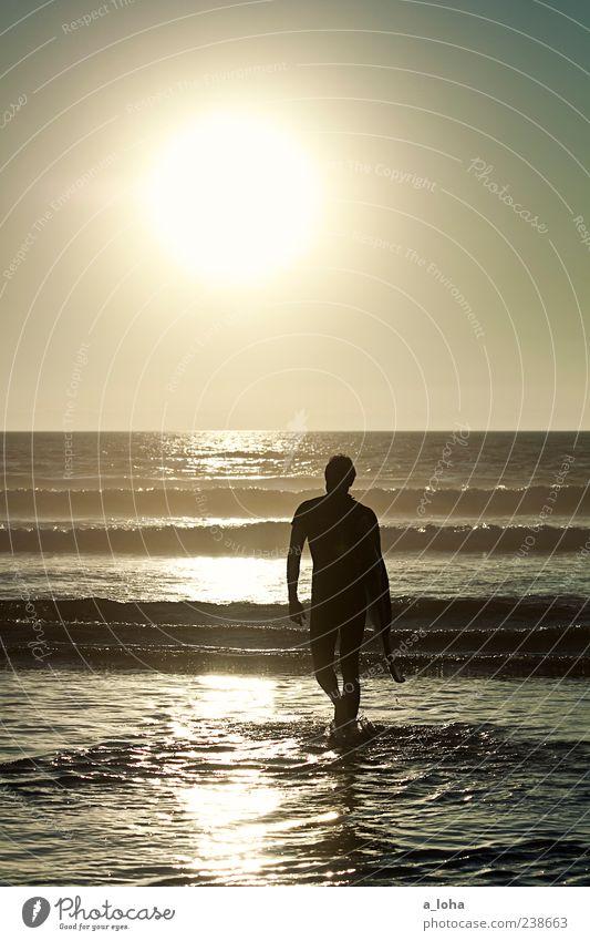do you remember Lifestyle Freizeit & Hobby Sport Wassersport Surfen Mensch maskulin Mann Erwachsene 1 Urelemente Himmel Horizont Sonnenaufgang Sonnenuntergang