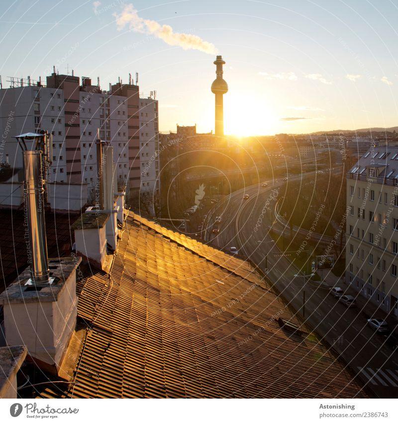 Dach Himmel Wolken Sonne Sonnenaufgang Sonnenuntergang Schönes Wetter Wien Österreich Stadt Hauptstadt Haus Hochhaus Fabrik Brücke Turm Bauwerk Gebäude