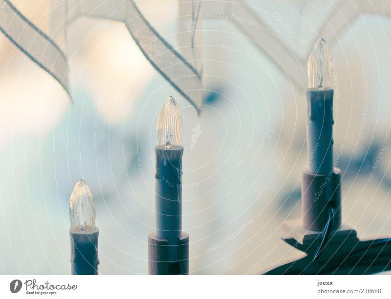 Warten blau alt ruhig gelb Gefühle hell Kerze Kitsch Gardine falsch Weihnachten & Advent elektrisch Weihnachtsdekoration Feste & Feiern Lichterkette Nachbildung