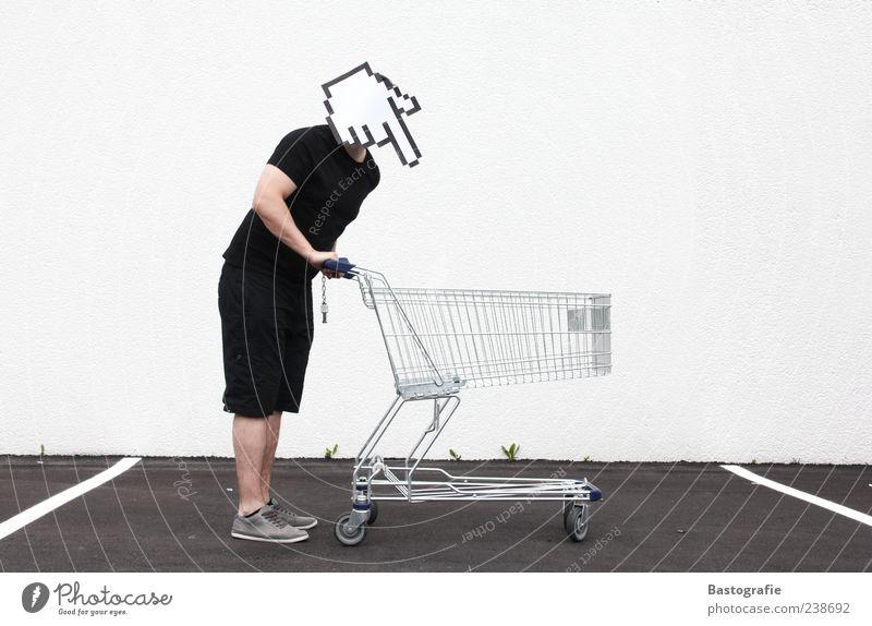 Online-Shop 1 Mensch kaufen Einkaufswagen Mauszeiger Bildpunkt Hand Kopf leer schieben fahren Pfeil Richtung Wegweiser Farbfoto Einkaufskorb Parkplatz Mann