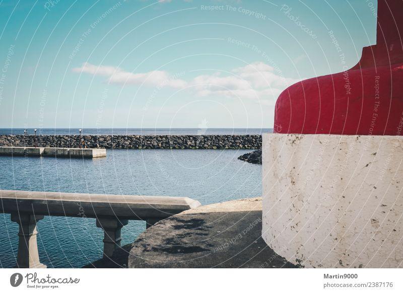 Am Hafen Ferien & Urlaub & Reisen Ferne Sommerurlaub Strand Meer Insel Luft Wasser Himmel Schönes Wetter Küste Schifffahrt Stein frisch blau grau rot Farbfoto