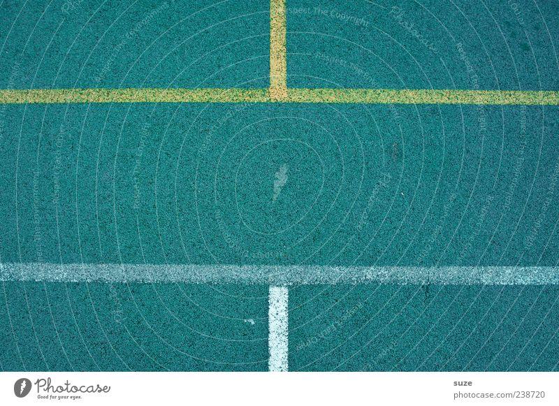 Gleichstand blau gelb Sport Linie Freizeit & Hobby Schilder & Markierungen Ordnung Platz Bodenbelag Spielfeld Grenze Textfreiraum Symmetrie graphisch gerade