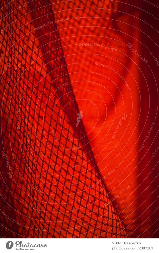 Netz im roten Licht Design Dekoration & Verzierung Musik Technik & Technologie Kunst Gebäude PKW Metall Stahl Unendlichkeit modern rosa schwarz Sicherheit Farbe