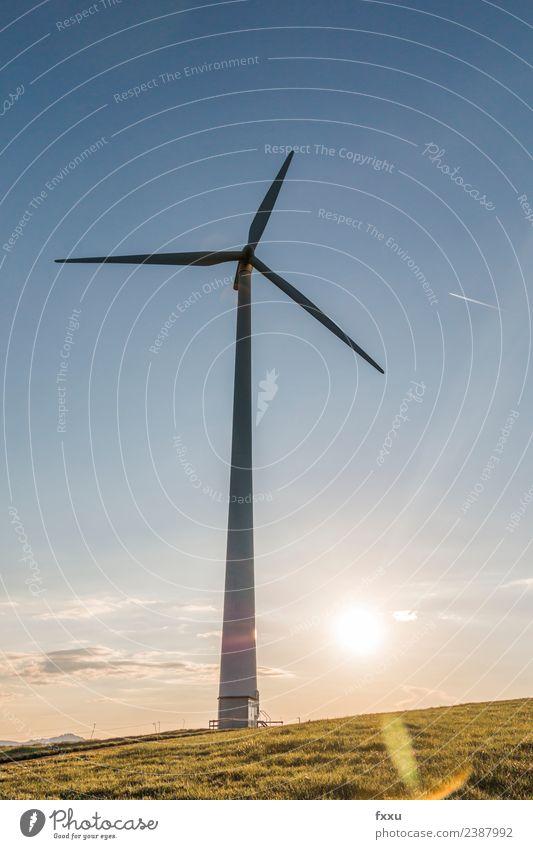 Windenergie Windanlage im Gegenlicht Himmel Natur Wolken Umwelt Energiewirtschaft Technik & Technologie Windkraftanlage Schweiz Abenddämmerung Umweltschutz