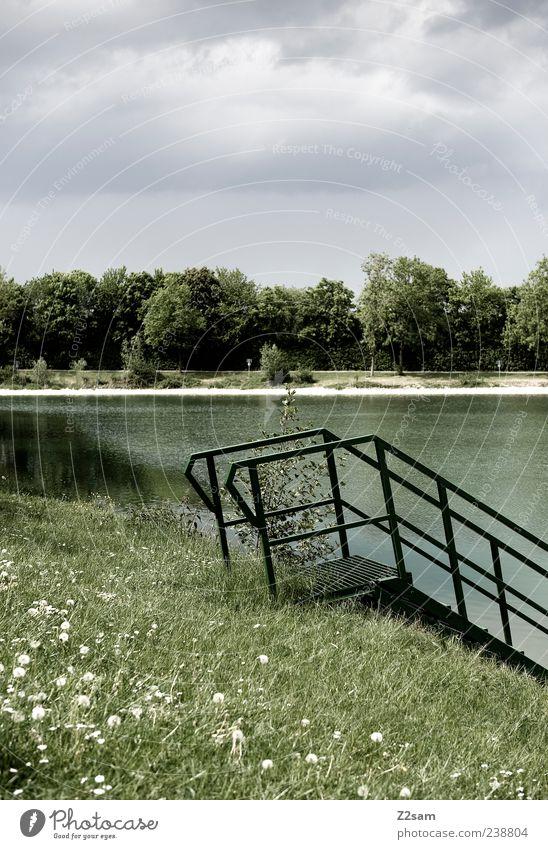 Rentnereinstieg Natur grün Einsamkeit ruhig Umwelt Landschaft Wiese See Stimmung Klima natürlich frei Idylle einfach Seeufer Treppengeländer