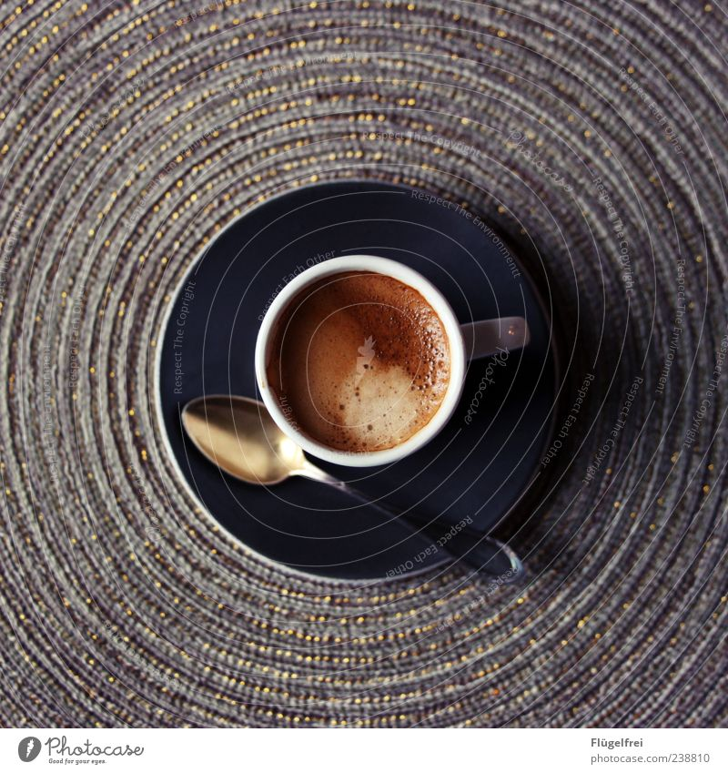 Mit einem Stück Zucker bitte! schwarz braun elegant Getränk Kreis süß Kaffee rund heiß Mitte Appetit & Hunger lecker Tasse graphisch edel Schaum