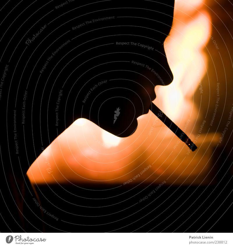 Light My Fire elegant Rauchen Sinnesorgane Kamin Mensch Kopf Feuer ästhetisch heiß hell Stimmung Kraft bizarr Kreativität Surrealismus Voodoo Zigarette Farbfoto
