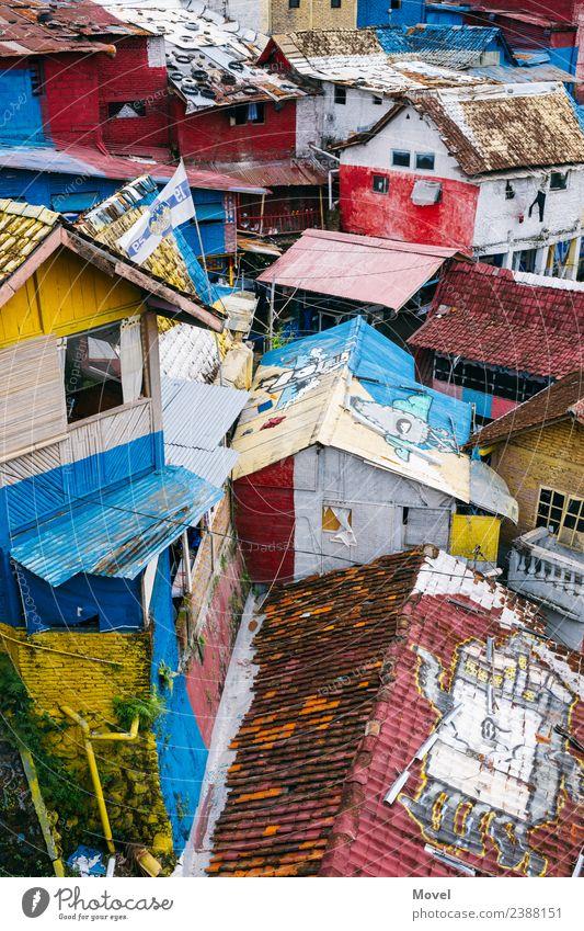 Yogyakarta Backyard blau Stadt grün Haus Architektur gelb Wand Graffiti Holz Gebäude Mauer Stein Fassade Abenteuer Armut Zeichen
