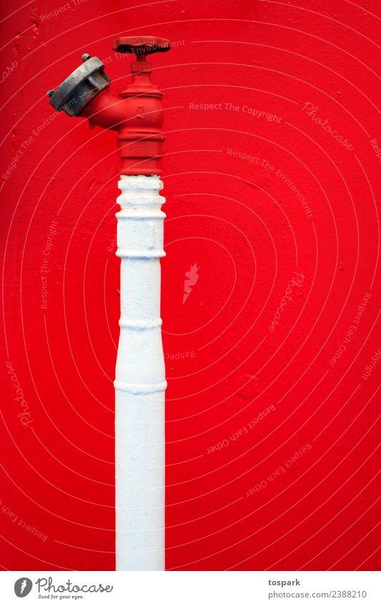 roter Wasserhahn Anstreicher Technik & Technologie Schifffahrt Kreuzfahrt Passagierschiff Hinweisschild Warnschild drehen außergewöhnlich frisch hell maritim