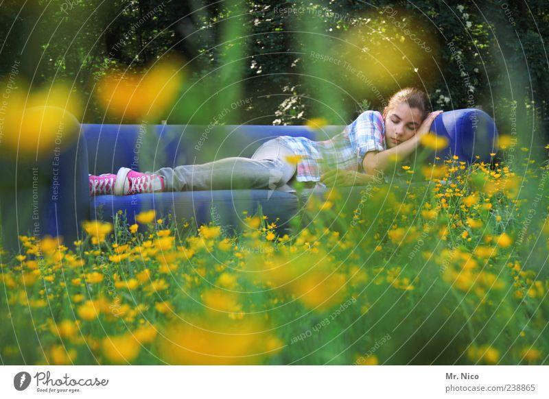 sweet dreams Natur Jugendliche blau Sommer Blume ruhig Erholung Umwelt Wiese feminin Gras träumen Zufriedenheit Junge Frau liegen natürlich