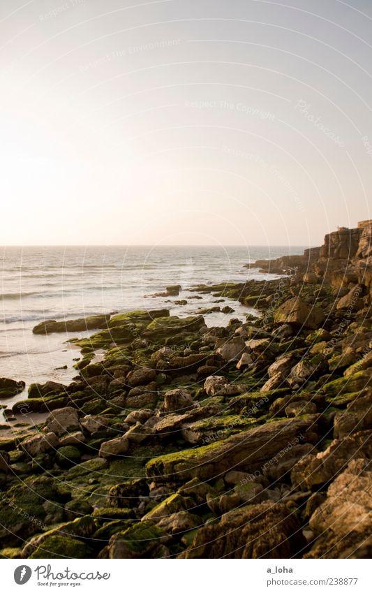 sehnsucht nach meer Natur Landschaft Urelemente Wasser Wolkenloser Himmel Horizont Sonnenaufgang Sonnenuntergang Sommer Schönes Wetter Felsen Küste Strand Meer