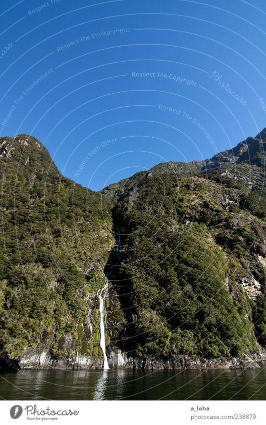 blue*green Natur Landschaft Pflanze Urelemente Luft Wasser Wolkenloser Himmel Schönes Wetter Sträucher Felsen Gipfel Schlucht Küste Flussufer Fjord Wasserfall