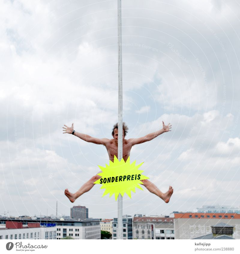 preisknaller Mensch Mann Stadt Haus Erwachsene nackt springen Körper Schilder & Markierungen Haut maskulin Schriftzeichen verrückt kaufen Stern (Symbol) Dach