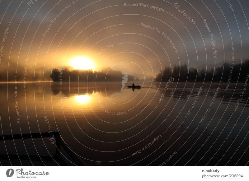 Früh am Morgen Natur ruhig Erholung Landschaft See Wasserfahrzeug Geländer Sonnenaufgang Sonnenuntergang Morgendämmerung Reflexion & Spiegelung