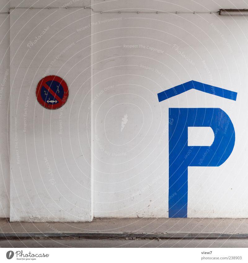ParkHaus blau alt Farbe Wand Architektur Mauer Fassade elegant Schilder & Markierungen groß Ordnung Beton authentisch Hinweisschild einfach