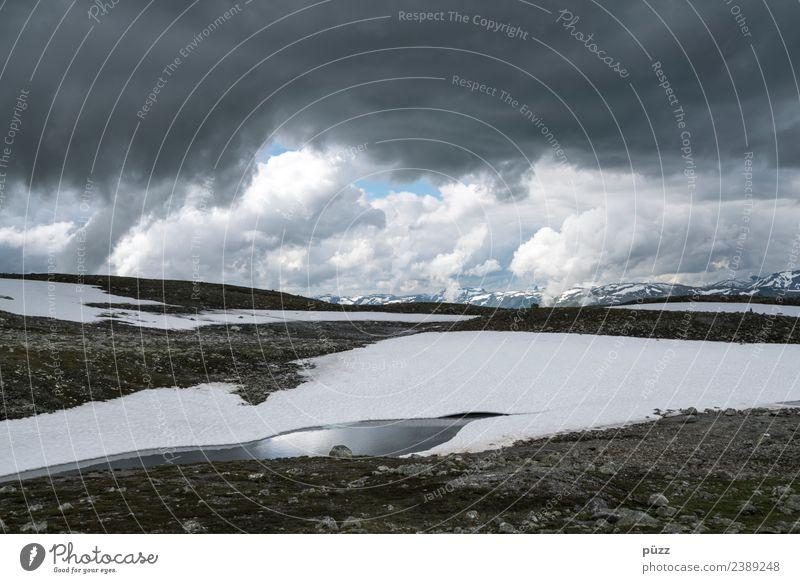 Kontraste Himmel Natur Ferien & Urlaub & Reisen Wasser Landschaft weiß Wolken Ferne Berge u. Gebirge Umwelt kalt Schnee Tourismus Freiheit grau Felsen