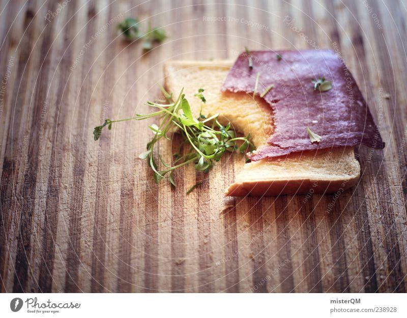 Brotzeit. ästhetisch Foodfotografie Ernährung Frühstück Frühstückspause lecker Appetit & Hunger ökologisch Kresse Toastbrot Salami wenige einfach Morgen beißen