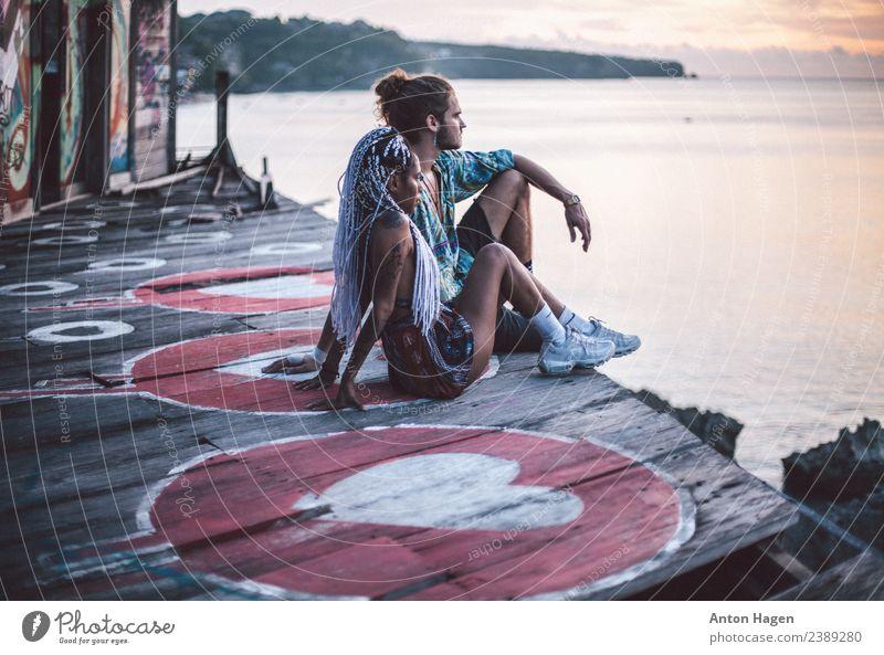 Bombe da Liebe feminin Junge Frau Jugendliche Junger Mann Paar Partner 2 Mensch Kunstwerk Gemälde Jugendkultur Subkultur Zusammensein Romantik schön ruhig