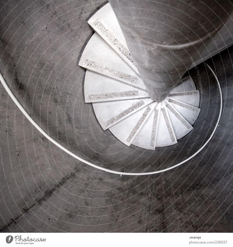 Curl Architektur Treppe Treppenhaus Treppengeländer drehen rund trist Schwarzweißfoto Innenaufnahme Menschenleer Vogelperspektive Wendeltreppe Beton