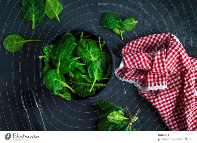frischer grüner Spinat Gemüse Kräuter & Gewürze Ernährung Vegetarische Ernährung Diät Pfanne Tisch Natur Pflanze Blatt Essen natürlich oben rot schwarz
