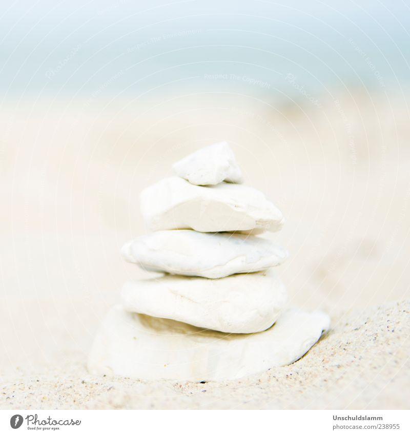 Grüsse vom Strand Wellness harmonisch ruhig Meditation Sommer Meer Kunstwerk Skulptur Natur Sand Küste Turm Dekoration & Verzierung Stein bauen ästhetisch hell