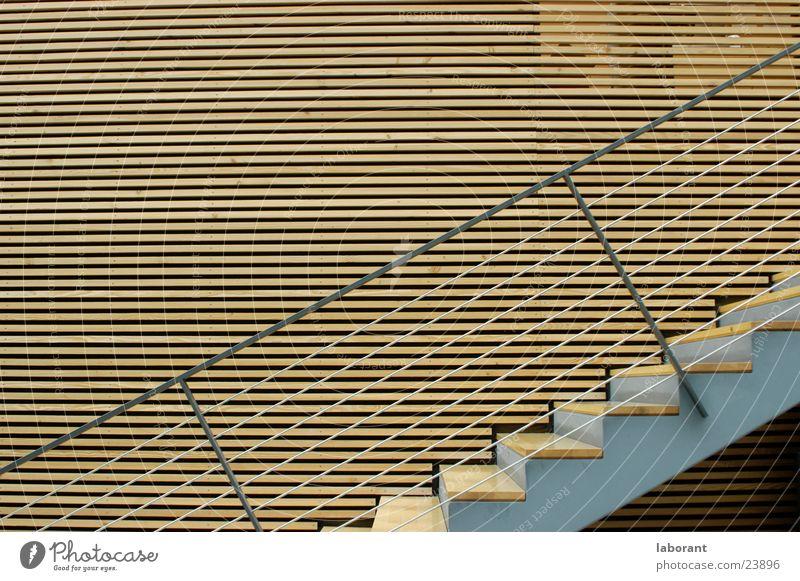 treppe Holz Architektur Treppe modern Stahl Querformat Drahtseil