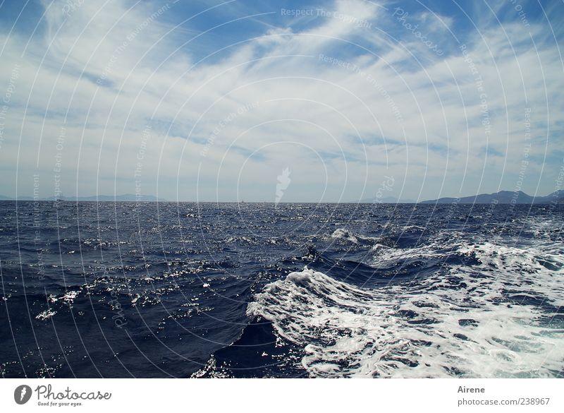 ...irgendwann bleib i dann dort... Ferne Freiheit Sommer Meer Insel Wellen Natur Wasser Himmel Wolken schön blau weiß Sehnsucht Fernweh Ewigkeit Horizont