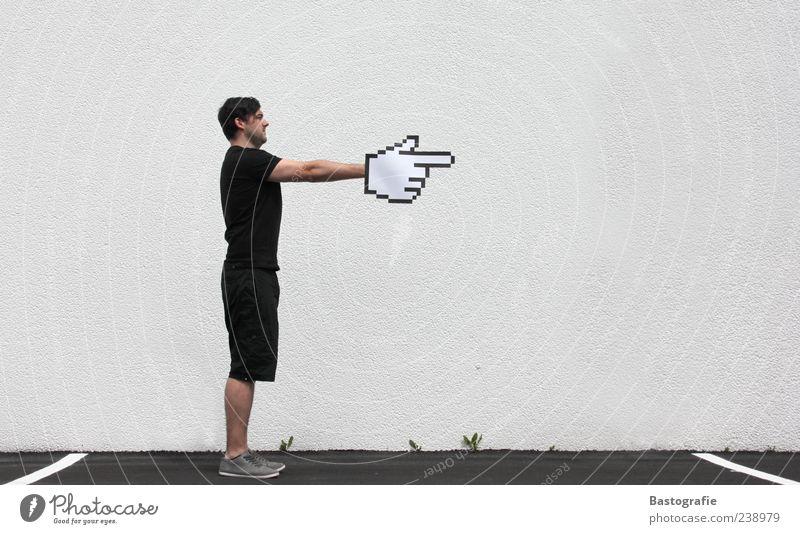 Mickey Mouse Mensch Mann Hand Wand Wege & Pfade Informationstechnologie Fassade stehen Internet Pfeil zeigen Richtung Computermaus Steuerelemente Parkplatz Wegweiser